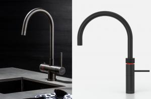 Selsiuz kokend-water-kraan modellen met Lanesto spoelbak in de kleuren: Inox, Copper, Gold en zwart Gun Metal