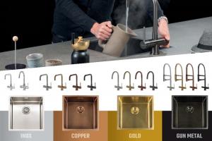 Selsiuz kokend-water-kraan met Lanesto spoelbak in dezelfde kleur Copper – Dekker Zevenhuizen