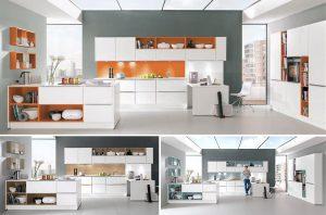 Witte keuken met oranje, aqua en hout decor - Nobilia 615 427 Alpin wit