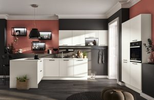 Witte keuken in L-vorm - Häcker Loft Polar Wit