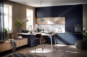 Keukenstijl: duurzame keuken - Häcker keuken met bar AV 1097 eiken blauw