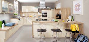 Keuken vorm: G-keuken – Nobilia 545 764 Alpine wit laklaminaat