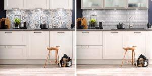 Keukenaccessoires: 2x keukenachterwand en spatwand in dezelfde keuken Häcker Lotus Wit