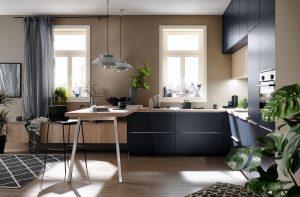 Keuken vorm: L-keuken met bar – Häcker keuken AV 1097
