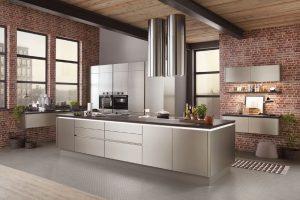 Keuken vorm: Keukeneiland - kookeiland keuken – Nobilia design keuken in geborsteld staal laklaminaat 808 216