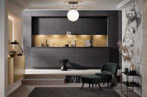 Keuken vorm: rechte keuken - Zwarte Häcker keuken GL 2035 4070
