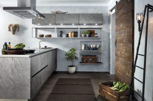 Keuken vorm: Schiereiland keuken – Häcker keuken AV 7030 Silver Star