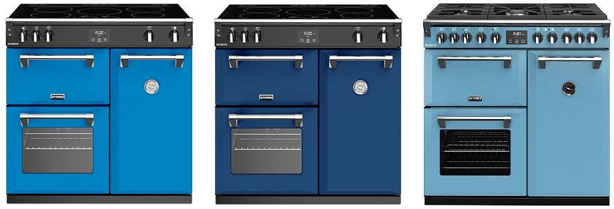 Blauw fornuis – Stoves inductiefornuis 90cm Richmond + Stoves gasfornuis 90cm Richmond