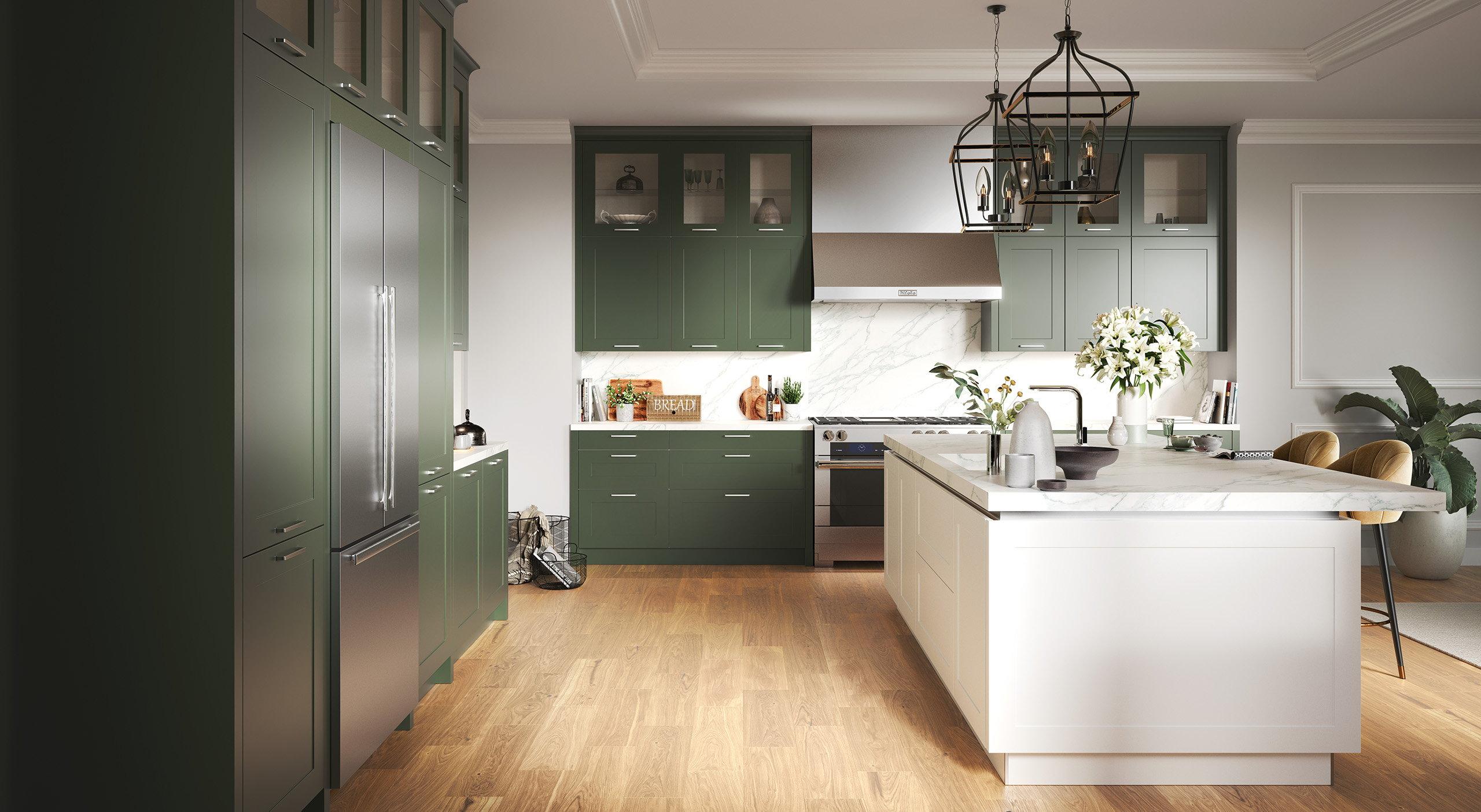 Groene landelijke keuken met wit, Häcker keuken AV 6055 RAL 6003 Olijfgroen D2