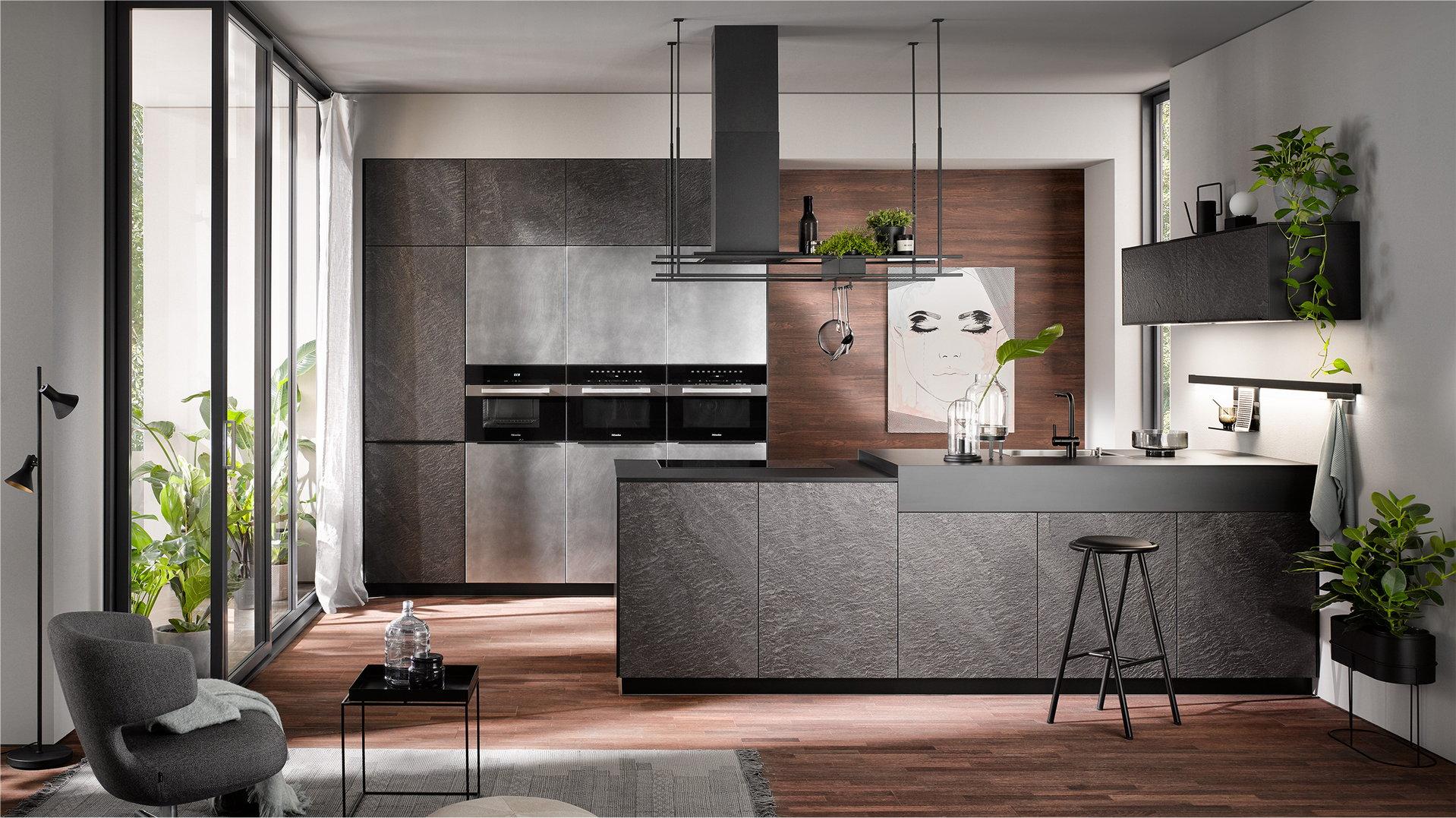 Moderne industriële keuken hout frontjes + zwarte keuken handgrepen, Häcker keuken AV 7030 Black Star, AV 7070 industrial steel