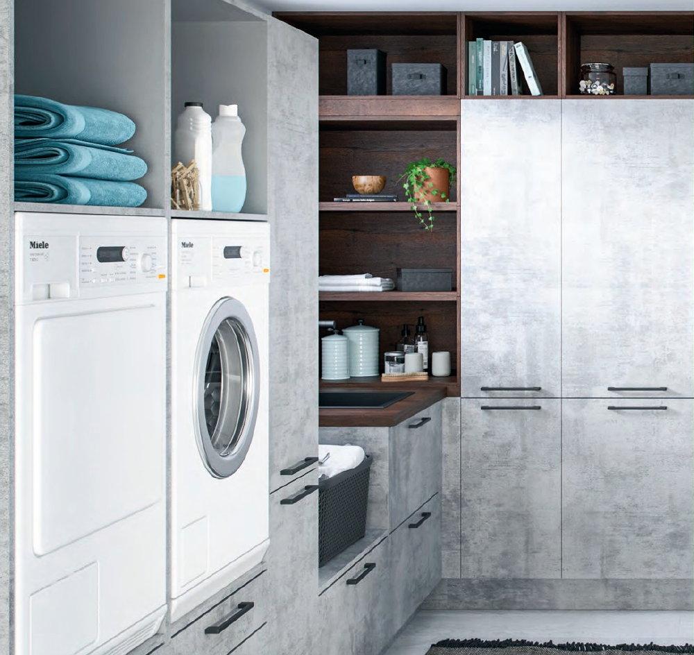 Keukentrend 2020 - Häcker L-bijkeuken als droog- en wasruimte + kastruimte