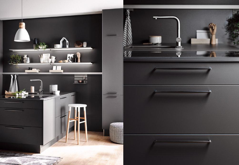 Moderne keukengrepen – Häcker grijze keuken Uno Grafiet