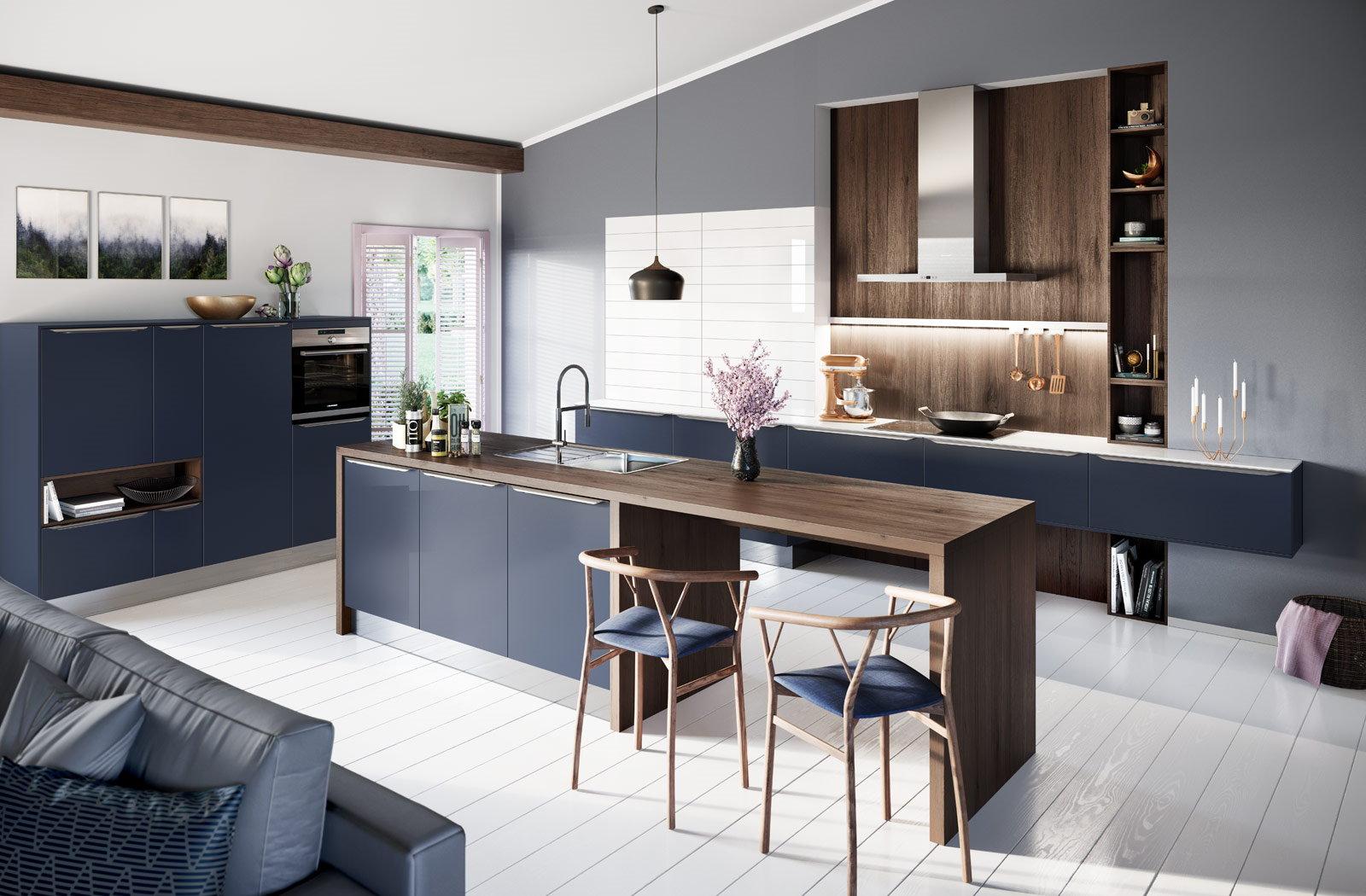 Blauwe design parallel keuken + hout decor, Häcker keuken 6000 Fluweelblauw mat lak
