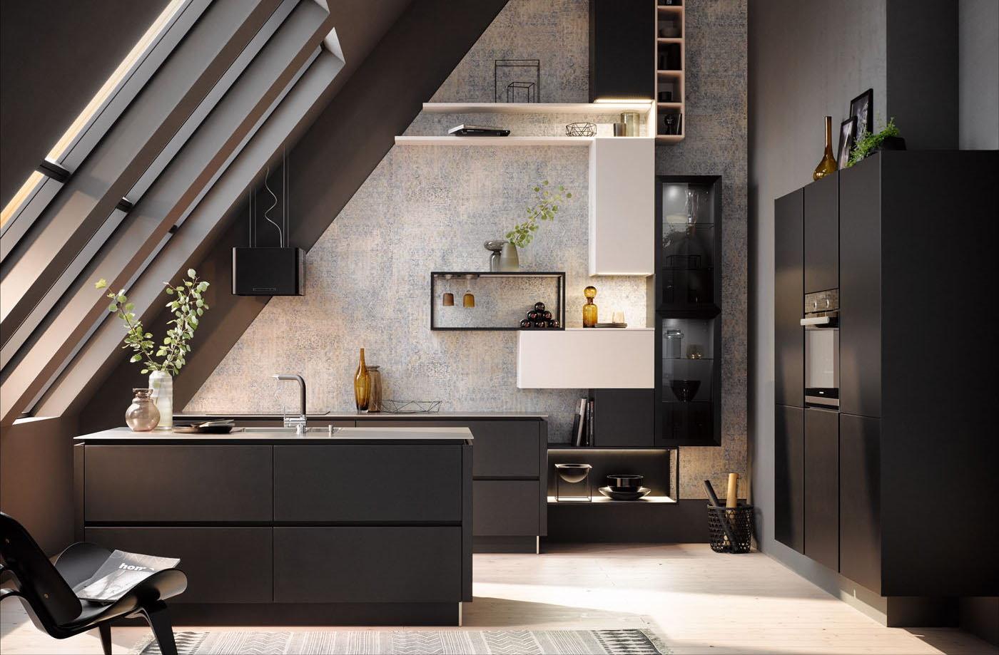 Zwarte keuken parallel opstelling met half hoge kastenwand, Häcker keuken 2035 GL mat zwart lak