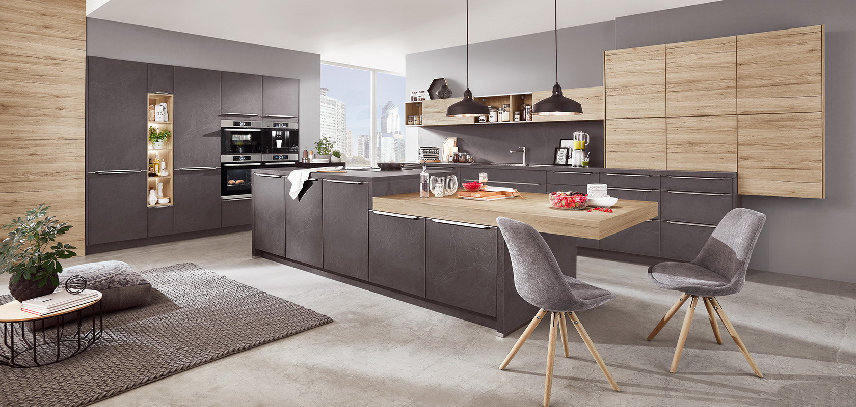 Parallel design keuken - Nobilia StoneArt 303 leisteen grijs