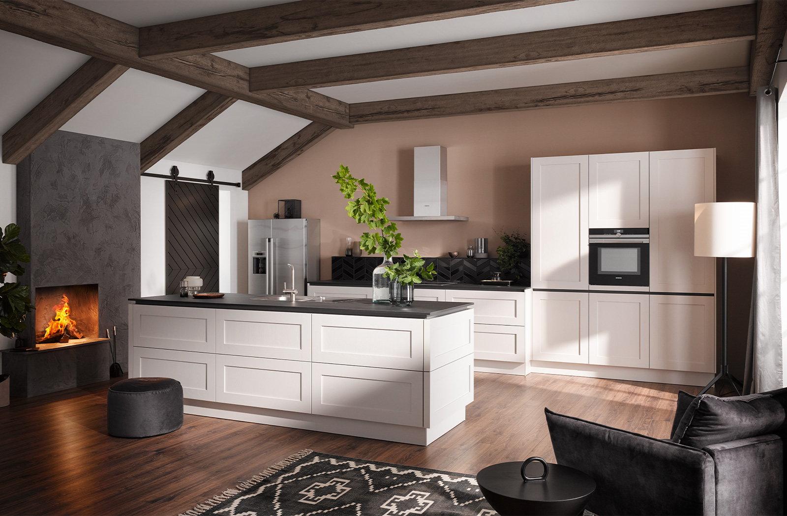 Modern landelijke keuken in parallel vorm – Häcker keuken 6055 GL satin