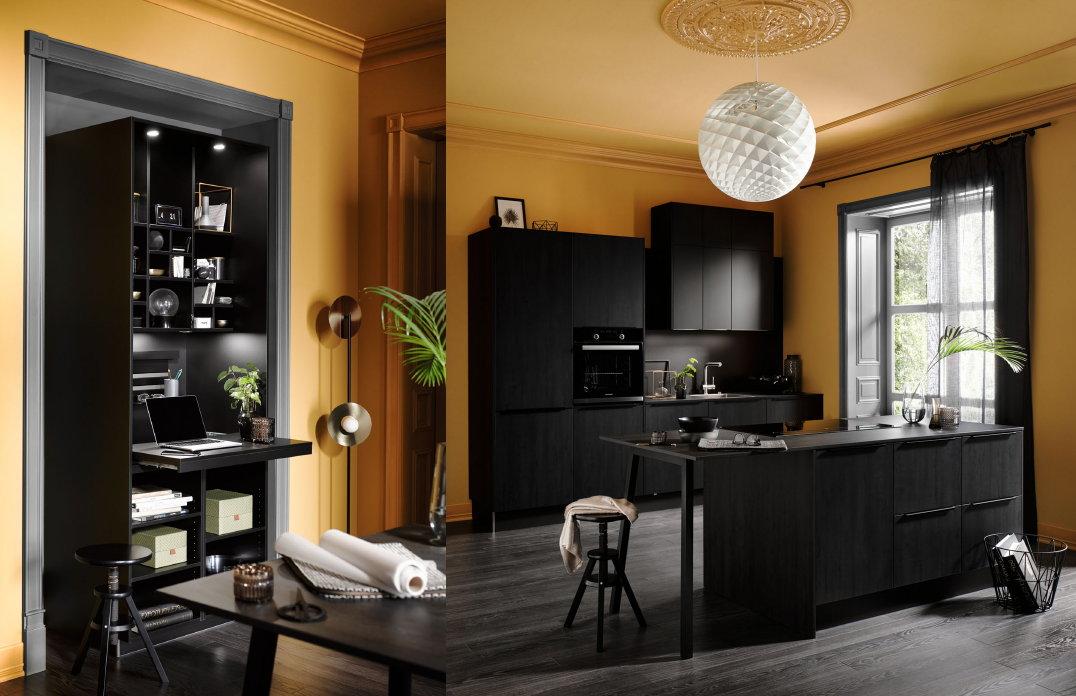 Thuiskantoren in de keuken: werkplek met uitschuifbaar bureau – Zwarte keuken Häcker Meteor Laser Soft Black Steel