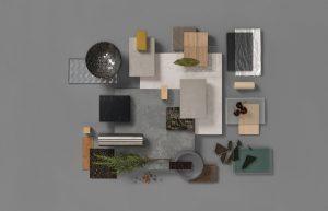 Composiet keukenblad materialen moodboard, Silestone Loft serie