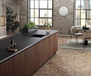 Zwart composiet keukenblad, Silestone Loft Corktown