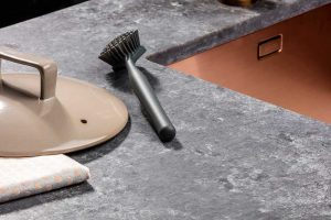 Composiet betonlook keukenblad, Evora Quartz Raw Graphite