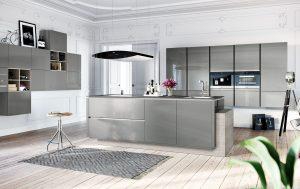 Hoogglans design keuken, Häcker grijze keuken AV 5090 GL