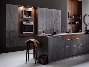 Design semi-greeploze keuken, Häcker ijzer grijze keuken met bijzondere open kasten + nissen