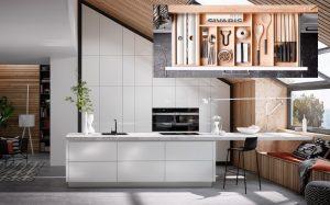 Greeploze design keuken - Häcker AV 2030 GL witte keuken met marmer aanrechtblad & luxe keukenlade inrichting