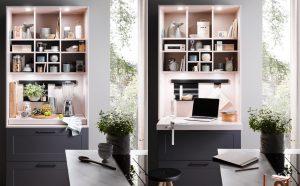 Modern klassieke keukenkast met uitschuifpaneel voor keukenaccessoires en thuiswerkplek, Häcker keuken Lotus grafiet