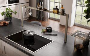 Modern klassieke keuken met keukenrek op kookeiland, Häcker keuken AV 6055 GL taupe