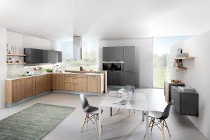 Achterwand keuken glas, Häcker moderne keuken Provence Ash Lava Grey