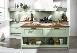 Achterwand keuken hout, Häcker pastel groene landelijke keuken