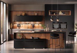 Achterwand keuken kunststof, houtlook, Häcker zwarte design keuken AV 6000