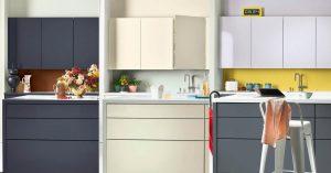 Achterwand keuken verven, Flexa verf Tranquil Dawn, Cheeky Chestnut en geel F9.44.69