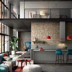 Industriële keuken met beton composiet aanrechtblad, zijpanelen en achterwand – Silestone Kitchen Loft Seaport