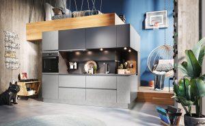 Industriële keuken ontwerp, Häcker staal fineer keukenblok Steel Hell