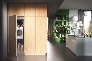 Keuken met bijkeuken ontwerp, Häcker AV 6082, AV 4030 GL, wit kookeiland met eiken kastenwand
