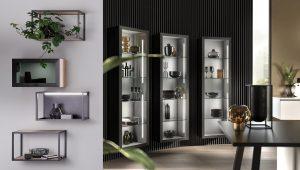 Verlichte stalen regalen en displaykasten met glazen legplanken, Häcker keukens