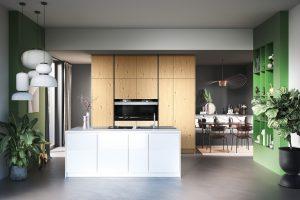 Wit keukeneiland met houten kastenwand en groene vakkenkast – Häcker groene RAL kleur kast