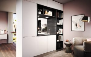 Kleine zwart + witte keuken met nis in de kastenwand, Häcker Luna
