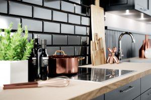 Kruidenpot, koperen pan & garde, olie en azijn en borrel- en broodplanken, Häcker AV 5040 zwarte landelijke keuken
