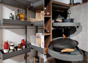 Keukenkast opbergsysteem & Le Mans hoekkast, Häcker keukens