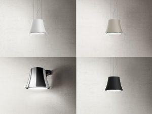 Verlichting boven kookeiland: Elica Audrey design afzuigkap kookeiland en wand met verlichting