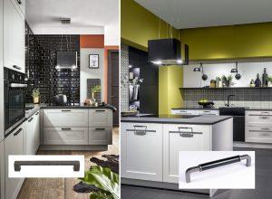 Moderne landelijke keukens met antiek zwarte handgrepen keukenkasten, Häcker keuken Lotus & Hampton