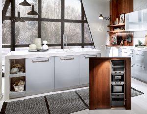 Moderne keuken met lange RVS keukengrepen, Häcker keuken AV 4030 AV 6084 parelgrijs en gerookt eiken